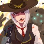 1girl albino ashe_(overwatch) cowboy_hat eshi_(corzhkryakrya) hat highres lipstick makeup overwatch red_eyes shirt single_pauldron solo vest white_hair