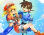 1boy 1girl blonde_hair breasts brown_hair cabbie_hat commentary_request dinef gloves green_eyes hat jacket long_hair open_mouth red_jacket rock_volnutt rockman rockman_dash roll_caskett smile