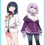 2girls :d arms_at_sides bangs black_hair black_legwear black_skirt blue_eyes bow bowtie breasts chan_co collared_shirt commentary_request drinking_straw earphones eyebrows_visible_through_hair hand_in_pocket holding jacket long_hair long_sleeves looking_at_viewer looking_back medium_breasts miniskirt multiple_girls open_clothes open_jacket open_mouth orange_scrunchie pantyhose partially_unzipped pillarboxed pink_eyes pink_hair pleated_skirt purple_bow purple_jacket purple_neckwear red_neckwear school_uniform scrunchie shiny shiny_hair shirt short_hair simple_background skirt sleeves_past_wrists smile ssss.gridman standing takarada_rikka white_background white_cardigan white_shirt zipper_pull_tab