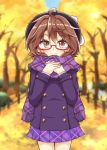 1girl ahoge aki_chimaki autumn_leaves brown_eyes brown_hair commentary_request cowboy_shot glasses hands_on_own_chest hat highres jacket looking_at_viewer plaid plaid_scarf plaid_skirt pleated_skirt purple_scarf purple_skirt red-framed_eyewear scarf semi-rimless_eyewear skirt smile solo standing touhou under-rim_eyewear usami_sumireko