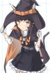 1girl animal_ears asashio_(kantai_collection) black_hair blue_eyes blush cat_ears cat_tail closed_mouth commentary_request dress fake_animal_ears gloves halloween halloween_costume hat kantai_collection long_hair long_sleeves looking_at_viewer pallad remodel_(kantai_collection) school_uniform shirt simple_background skirt solo tail white_background white_shirt witch witch_hat