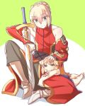 1boy 1girl animal_ears armored_boots blonde_hair boots braid cat_ears chibi detached_sleeves fate/apocrypha fate/prototype fate_(series) french_braid green_eyes grey_background kemonomimi_mode lap_pillow looking_at_another mordred_(fate) mordred_(fate)_(all) mordred_(fate/prototype) petting simple_background sitting sword weapon yamany