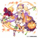 1girl blonde_hair blue_eyes bow breasts cape company_name dmm full_body gemini_seed green_eyes hair_between_eyes hair_bow hattori_masaki high_ponytail holding holding_staff jack-o'-lantern long_hair looking_at_viewer medium_breasts mismatched_legwear official_art orange_cape orange_legwear purple_bow purple_cape purple_legwear sidelocks solo staff standing very_long_hair