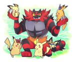 :3 black_eyes chiimako claws closed_eyes commentary_request creatures_(company) eyewear_on_headwear game_freak gen_1_pokemon gen_2_pokemon gen_7_pokemon goggles goggles_on_head green_eyes grin hat incineroar nintendo no_humans open_mouth pichu pikachu pokemon pokemon_(anime) pokemon_(creature) pokemon_(game) red_hat sharp_teeth sitting smile star sunglasses super_smash_bros. super_smash_bros._ultimate tail teeth yellow_sclera