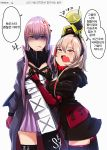 2girls anger_vein bangs biting black_legwear blue_eyes clothes_writing fang girls_frontline gloves hair_between_eyes hands_on_another's_chest headgear highres jacket korean lip_biting long_hair m4_sopmod_ii_(girls_frontline) megaphone multicolored_hair multiple_girls on_head open_mouth pink_hair red_eyes redhead ro635_(dinergate) st_ar-15_(girls_frontline) streaked_hair tally tears thigh-highs translation_request white_background yellowseeds