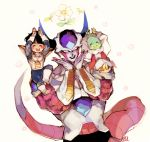3boys :d ^_^ akame_(chokydaum) armor black_hair blush boots carrying carrying_over_shoulder closed_eyes closed_eyes dende dragon_ball dragonball_z evil_smile fingernails floating_hair floral_background flower frieza full_body gloves hands_on_own_chin hands_up happy horns leaf looking_at_viewer male_focus multiple_boys open_mouth pink_flower red_eyes short_hair simple_background sitting smile son_gohan tail teeth upper_body white_background white_flower white_gloves
