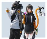 1boy 1girl absurdres barcode black_hair coffee_cup cup cyberpunk cyborg disposable_cup doughnut eating eyepatch food helmet highres kasagarasu mechanical_arm mechanical_tail orange_eyes original pastry_box short_hair_with_long_locks simple_background sumi_elias tail tail_hold