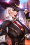 1girl albino arm_tattoo ashe_(overwatch) ayya_saparniyazova black_hat black_nails black_vest blue_sky blurry blurry_background bokeh bracelet breasts canyon commentary cowboy_hat day depth_of_field earrings eyelashes eyeliner eyeshadow fingerless_gloves fingernails flower_tattoo gloves hand_on_headwear hand_on_hip hand_up hat high_collar jewelry lens_flare lips lipstick long_fingernails long_sleeves looking_at_viewer makeup mascara medium_breasts medium_hair mole nail_polish necktie nose outdoors overwatch parted_lips patreon_username red_eyes red_lips red_lipstick red_neckwear shirt single_pauldron sky smile solo stud_earrings sunlight tattoo teeth upper_body vambraces vest watermark web_address white_hair white_shirt