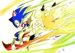 blush_stickers creatures_(company) crossover disintegration game_freak gen_1_pokemon gloves green_eyes highres light looking_at_another nintendo no_humans outstretched_arm pikachu pokemon pokemon_(game) reaching_out running simple_background sonic sonic_the_hedgehog super_smash_bros. super_smash_bros._ultimate tteum93 white_background