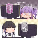 2girls 2koma :d ^_^ arm_warmers ayasaka bang_dream! bangs black_bow black_hair blunt_bangs blush bow cellphone closed_eyes closed_eyes comic commentary_request crying frilled_shirt_collar frills giving_up_the_ghost gloom_(expression) hair_bow halftone halftone_background keyboard_(computer) long_hair long_sleeves monitor multiple_girls neck_ribbon open_mouth phone purple_hair ribbon shirokane_rinko shirt smartphone smile talking_on_phone translation_request twintails udagawa_ako white_shirt