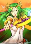 1girl 2boys bracelet dark_pit dress green_eyes green_hair jewelry kid_icarus kid_icarus_uprising long_hair multiple_boys necklace nintendo palutena pit_(kid_icarus) protecting staff sunset super_smash_bros. super_smash_bros._ultimate tiara very_long_hair white_dress
