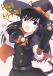 animal_ears arashio_(kantai_collection) asashio_(kantai_collection) belt black_cape black_dress black_hair blue_eyes buttons cape cat_ears cat_paws cat_tail commentary_request dress gloves halloween halloween_costume hat holding kantai_collection long_hair long_sleeves looking_at_viewer neck_ribbon open_mouth orange_ribbon paws pinafore_dress ribbon school_uniform searchlight shirt simple_background tail twitter_username white_gloves white_shirt witch witch_hat yuasa_makoto