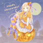 1girl blonde_hair bow braid closed_mouth creatures_(company) dress full_body full_moon game_freak green_eyes halloween_costume happy_halloween hat high_heels jack-o'-lantern lillie_(pokemon) long_hair moon multicolored multicolored_clothes multicolored_legwear night night_sky nintendo pokemon pokemon_(game) pokemon_sm purple_bow short_sleeves sitting sky smile solo thigh-highs twin_braids twitter_username yomogi_(black-elf)