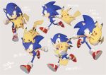 1boy animal creatures_(company) game_freak gen_1_pokemon gloves nintendo pikachu pokemon pokemon_(creature) rapipig_(rapi_dff) shoes smile sonic sonic_the_hedgehog super_smash_bros. super_smash_bros._ultimate tail