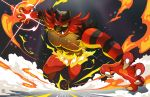 attacking black_hair claws creatures_(company) fire game_freak gen_7_pokemon incineroar looking_at_viewer nintendo no_humans open_mouth pokemon pokemon_(creature) pokemon_(game) pokemon_sm sei_(seiryuuden) sharp_teeth simple_background smile solo striped super_smash_bros. super_smash_bros._ultimate tail teeth yellow_sclera