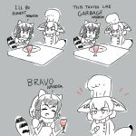 2girls ^_^ animal_ears arms_behind_back beolseoneunseobeol blush bow bowtie buttons chef chef_hat chef_uniform closed_eyes closed_eyes closed_mouth comic common_raccoon_(kemono_friends) crossed_arms cup drink drinking_glass english fennec_(kemono_friends) fox_ears fox_tail greyscale hand_up hands_up hat holding holding_cup kemono_friends long_sleeves looking_at_another monochrome multiple_girls ok_sign open_mouth plate puffy_short_sleeves puffy_sleeves raccoon_ears raccoon_tail short_hair short_sleeves smile spot_color striped_tail sweater table tail upper_body