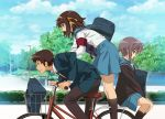 1boy 2girls armband bag bicycle_basket blue_jacket blue_sailor_collar blue_skirt brown_cardigan brown_eyes brown_hair brown_legwear brown_pants clenched_teeth closed_mouth clouds cloudy_sky collared_shirt commentary_request day feet_out_of_frame from_side gakuran hair_ribbon hairband jacket kneehighs kyon leaning_forward long_sleeves looking_down multiple_girls nagato_yuki necktie nyoro_(nyoronyoro000) open_clothes open_jacket open_mouth orange_hairband orange_ribbon outdoors pants park profile purple_hair red_neckwear ribbon sailor_collar school_bag school_uniform serafuku shirt short_hair sitting skirt sky standing suzumiya_haruhi suzumiya_haruhi_no_yuuutsu teeth tree v-shaped_eyebrows white_shirt