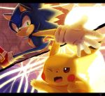 blush_stickers commentary creatures_(company) crossover game_freak gen_1_pokemon gloves light looking_at_another monochrome nintendo no_humans open_mouth outstretched_arm pikachu pokemon pokemon_(game) reaching_out running shadow sonic sonic_the_hedgehog super_smash_bros. super_smash_bros._ultimate