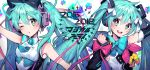 2016 2018 2girls :d absurdres aqua_eyes aqua_hair armpits bangs bare_shoulders black_bow black_sleeves blue_neckwear blush bow bowtie commentary_request detached_sleeves devy eyebrows_visible_through_hair hair_between_eyes hair_bow hair_ornament hatsune_miku headphones highres huge_filesize long_hair long_sleeves magical_mirai_(vocaloid) multiple_girls necktie one_eye_closed open_mouth parted_lips pink_ribbon ribbon round_teeth shirt short_necktie sleeveless sleeveless_shirt smile teeth twintails upper_teeth very_long_hair vocaloid white_background white_shirt yellow_bow