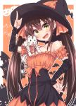 1girl :d bare_shoulders bow breasts brown_hair cat choker detached_sleeves dress frilled_dress frills hair_ribbon halloween halloween_costume hands_on_another's_chest hat hat_tip highres hikawa_shou idolmaster idolmaster_cinderella_girls matoba_risa nail_polish open_mouth orange_bow orange_dress orange_ribbon ribbon smile solo twintails witch_hat yellow_eyes