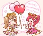 2019 2girls :d ;) ^_^ artist_name balloon blush bow brown_bow brown_eyes brown_hair chibi closed_eyes closed_eyes closed_mouth commentary_request dress flower hair_bow hair_bun hair_flower hair_ornament happy_valentine heart heart_balloon kunikida_hanamaru kurosawa_ruby love_live! love_live!_sunshine!! mono_land multiple_girls one_eye_closed open_mouth outstretched_arms pink_bow pink_dress pink_flower pink_rose profile puffy_short_sleeves puffy_sleeves red_bow redhead rose short_sleeves side_bun sidelocks sideways_mouth signature smile wrist_cuffs yellow_dress