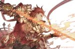 1boy black_gloves flaming_sword gloves granblue_fantasy holding holding_sword holding_weapon male_focus percival_(granblue_fantasy) redhead someta_ni sword twitter_username upper_body weapon white_background