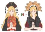 1girl alternate_costume blonde_hair chinese_clothes commentary comparison crescent earrings equation eyebrows_visible_through_hair hands_clasped hat headdress jewelry junko_(touhou) long_hair long_sleeves looking_at_viewer mefomefo mexican_flag own_hands_together pom_pom_(clothes) red_eyes shawl short_sleeves simple_background smile solo tears touhou upper_body white_background wide_sleeves