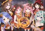 6+girls animal_ears aqua_hair arm_warmers azur_lane bandage bandaged_head bandages bangs bare_shoulders basket bell black_choker black_hair black_hat black_legwear black_ribbon black_skirt black_vest blue_eyes blunt_bangs blush bow bowtie braid brown_eyes brown_hair candy cat_ears center_frills character_request chestnut_mouth choker claw_pose claws commentary_request cookie crescent crescent_hair_ornament crescent_moon_pin demon_horns demon_tail demon_wings dog_ears ears_through_headwear eyebrows_visible_through_hair fake_horns fang food food_themed_hair_ornament frilled_shirt_collar frilled_skirt frilled_sleeves frills fumizuki_(azur_lane) gradient_hair green_eyes hair_ornament hair_ribbon halloween halloween_costume hands_on_own_chest hat hat_bow holding hood hood_up horns jingle_bell kisaragi_(azur_lane) kneehighs long_hair long_sleeves looking_at_viewer mikazuki_(azur_lane) minazuki_(azur_lane) mouse_ears multicolored_hair multiple_girls mutsuki_(azur_lane) neckerchief off_shoulder orange_bow orange_neckwear orange_skirt outdoors pantyhose pink_hair pov pumpkin_hair_ornament purple_hair ribbon ribbon-trimmed_legwear ribbon_trim sarashi screw shirt short_hair sidelocks single_braid skirt sleeveless sleeves_past_wrists smile standing stitches sumi_(kjtd2458) swept_bangs tail thick_eyebrows tongue tongue_out two_side_up upper_teeth v-shaped_eyebrows vest violet_eyes wavy_mouth white_shirt wings witch_hat wolf_ears x_hair_ornament yellow_bow