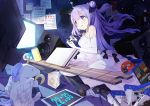 1girl 999kun azur_lane bangs blue_eyes can cd cd_case clock commentary controller digital_clock dress elbow_gloves evening_gown eyebrows_visible_through_hair game_console game_controller gloves hair_between_eyes hair_ribbon highres long_hair one_side_up playstation_4 purple_hair ribbon sitting soda_can solo speaker stuffed_animal stuffed_toy stuffed_unicorn television tongue tongue_out unicorn_(azur_lane) wariza white_dress white_gloves