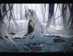 absurdly_long_hair aqua_hair barefoot crying crying_with_eyes_open dragon_girl dragon_horns fate/grand_order fate_(series) horns japanese_clothes kiyohime_(fate/grand_order) long_hair multicolored_hair nexie red_eyes snake snow tagme tears very_long_hair white_hair