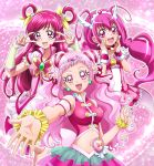 3girls :d arm_strap blush bow breasts collarbone covered_nipples cure_dream cure_happy cure_yell detached_sleeves double_v earrings eyebrows_visible_through_hair floating_hair frilled_skirt frills hair_between_eyes hair_bow hairband hanzou heart highres jewelry long_hair looking_at_viewer medium_breasts midriff miniskirt multiple_girls navel open_mouth outstretched_arm pink_eyes pink_hair pink_skirt pleated_skirt precure redhead shiny shiny_hair short_sleeves skirt smile stomach tank_top twintails two_side_up v very_long_hair white_hairband wrist_cuffs yellow_bow