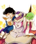 3boys :> :d ^_^ akame_(chokydaum) antennae armor black_hair blush boots carrying carrying_over_shoulder closed_eyes closed_eyes dende dragon_ball dragonball_z floral_background flower frieza full_body gloves happy height_difference horns looking_up male_focus multiple_boys open_mouth petals pointy_ears profile red_eyes simple_background sitting smile son_gohan upper_body white_background white_gloves yellow_flower