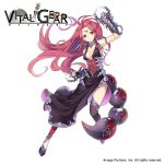1girl arm_up armlet black_dress black_legwear breasts brown_eyes circlet cleavage company_name copyright_name dress earrings full_body gauntlets gears jewelry kasuka108 long_hair medium_breasts official_art pink_hair scorpion_tail solo tail very_long_hair vital_gear watermark white_background
