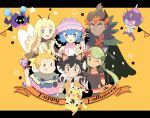 3boys 3girls :p :q alolan_muk animal_ears black_hair blonde_hair blue_eyes blue_hair blush_stickers braid candy cape cat_ears cat_tail closed_mouth cosmog cosplay creatures_(company) dark_skin dark_skinned_male dated decidueye dog_ears fake_animal_ears fake_tail fang food game_freak gen_1_pokemon gen_7_pokemon green_eyes green_hair grin happy_halloween highres holding_lollipop kaki_(pokemon) lillie_(pokemon) litten lollipop long_hair lycanroc mamane_(pokemon) mao_(pokemon) mei_(maysroom) mimikyu morelull multicolored_hair multiple_boys multiple_girls nintendo one_eye_closed open_mouth orange_background orange_hair pikachu poipole pokemon pokemon_(anime) pokemon_(creature) pokemon_sm_(anime) redhead ribombee satoshi_(pokemon) shiinotic short_hair simple_background smile star suiren_(pokemon) tail tongue tongue_out twin_braids twintails