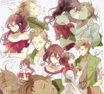 1girl 2boys alfyn_(octopath_traveler) bag blonde_hair bracelet braid brown_hair jewelry long_hair multiple_boys necklace octopath_traveler okii open_mouth plant ponytail primrose_azelhart short_hair simple_background smile therion_(octopath_traveler)
