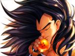 1boy 2014 black_hair close-up closed_eyes dated dragon_ball dragon_ball_(object) dragonball_z face fingernails floating_hair glowing hand_to_own_mouth highres light_smile long_hair male_focus raditz simple_background upper_body very_long_hair white_background