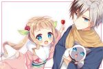 1boy 1girl :d animal bangs blue_eyes blush brown_scarf candy_apple cat character_request child commentary_request elle_mel_martha eyebrows_visible_through_hair flower food fur_collar hair_between_eyes hair_flower hair_ornament haori highres holding holding_food japanese_clothes kimono light_brown_hair long_hair long_sleeves looking_at_viewer ludger_will_kresnik natsuki_marina obi open_mouth pinching_sleeves pink_kimono red_flower red_rose rose sash scarf sidelocks silver_hair smile tales_of_(series) tales_of_xillia tales_of_xillia_2 twintails very_long_hair white_background wide_sleeves