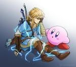 1boy blonde_hair blue_eyes earrings gloves hoshi_no_kirby jewelry kirby kirby_(series) link male_focus nintendo pointy_ears sayoyonsayoyo shield short_hair simple_background spoilers super_smash_bros. super_smash_bros._ultimate the_legend_of_zelda