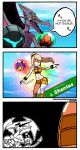 1girl 3koma abs blonde_hair breasts cleavage closed_eyes comic commentary dancing dark_samus dragonith english facepalm highres metroid metroid_(creature) mole mole_under_mouth monster nintendo outstretched_arms ponytail possessed ridley samus_aran shantae_(character) shantae_(series) short_shorts shorts smile speech_bubble super_smash_bros. super_smash_bros._ultimate sweat toned wristband |_|