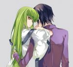 1boy 1girl black_hair c.c. code_geass from_behind green_hair grey_background lelouch_lamperouge long_hair looking_at_viewer looking_back meimi_k purple_shirt shirt simple_background smile very_long_hair yellow_eyes