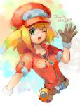 1girl blonde_hair breasts cabbie_hat commentary_request dinef green_eyes hat jacket long_hair looking_at_viewer red_jacket rockman rockman_dash rockman_dash_3 roll_caskett smile solo