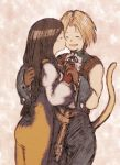 1boy 1girl black_hair blonde_hair bodysuit breasts commentary_request final_fantasy final_fantasy_ix garnet_til_alexandros_xvii gloves kiss long_hair low-tied_long_hair maekakekamen open_mouth orange_bodysuit smile tail zidane_tribal