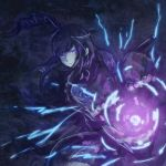 1girl abstract_background ancient_destroyer_oni black_hair blue_eyes charging drill_hair electricity energy energy_gun glowing glowing_eyes hair_blowing japanese_clothes kantai_collection kimono long_hair looking_at_viewer mole mole_under_eye mouth pale_skin shinkaisei-kan side_drill side_ponytail solo turret weapon yomi_(yomi14_pyaon)