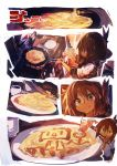 1girl absurdres brown_hair commentary cooking cup folded_ponytail food frying_pan heart highres inazuma_(kantai_collection) kaamin_(mariarose753) kantai_collection ketchup ketchup_bottle mug omurice open_mouth plate sailor_collar school_uniform serafuku smile spatula spoken_heart stove tongue tongue_out yellow_eyes