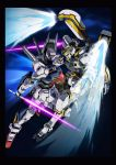 absurdres aqua_eyes atlas_gundam beam_saber commentary_request crossover energy_sword face-to-face glowing glowing_eyes green_eyes gundam gundam:_twilight_axis gundam_thunderbolt gundam_tristan highres mecha no_humans official_art science_fiction shield space star_(sky) sword thrusters weapon