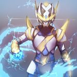 absurdres belt blurry blurry_foreground bodysuit breastplate brown_background brown_belt commentary_request copyright_request cowboy_shot depth_of_field electricity gauntlets glowing gradient gradient_background grey_background hand_up headgear helm helmet highres lightning_bolt spikes wada_kazu