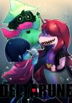 2others androgynous axe black_hair black_jacket blue_skin bracelet cape copyright_name deltarune green_hat grey_background hair_over_eyes hand_up hat index_finger_raised jacket jewelry kris_(deltarune) multiple_others pink_scarf ralsei red_cape scarf sen1986 sharp_teeth spiked_bracelet spikes standing susie_(deltarune) sword teeth weapon