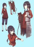 1girl adjusting_clothes armor black_hair character_sheet dressing fangdan_runiu long_hair original simple_background soldier