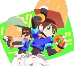 1boy 1girl aile bodystocking box box_on_head bracelet brown_hair carrying child drink drinking drinking_straw green_eyes jewelry kon_(kin219) object_on_head open_mouth puffy_short_sleeves puffy_sleeves robot_ears rockman rockman_zx rockman_zx_advent short_hair short_sleeves shorts vent white_shorts