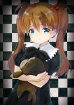 1girl absurdres bangs black_bow black_dress blue_eyes bow brown_hair checkered checkered_background child closed_mouth commentary_request dress eyebrows_visible_through_hair fingernails hair_between_eyes hair_bobbles hair_ornament highres inahori long_hair looking_at_viewer neon_genesis_evangelion object_hug puffy_short_sleeves puffy_sleeves short_sleeves sidelocks solo souryuu_asuka_langley stuffed_monkey twintails younger
